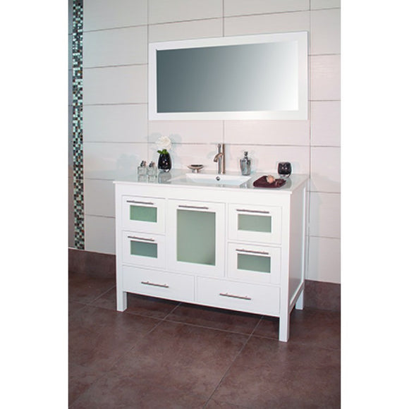 "Positano 48"" White Bathroom Sink Vanity -Positano 48"""