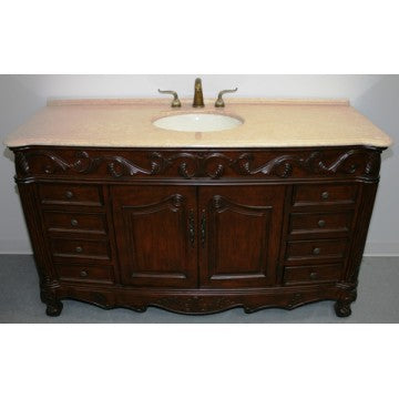 "Antique 60"" Walnut Bathroom Sink Vanity -3169L-BE"