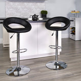 Black Faux Leather Swivel Seat Adjustable Barstool Set of 2