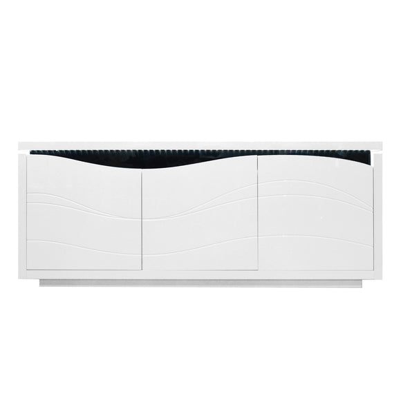 White High Gloss Contemporary Buffet with LED Light