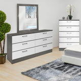 "Grey Wood Veneer Dresser Mirror - 32""x 39"""