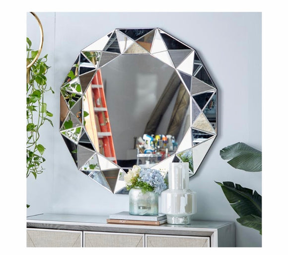 Silver Round Sun-Shaped Mirror 39 inch Diameter