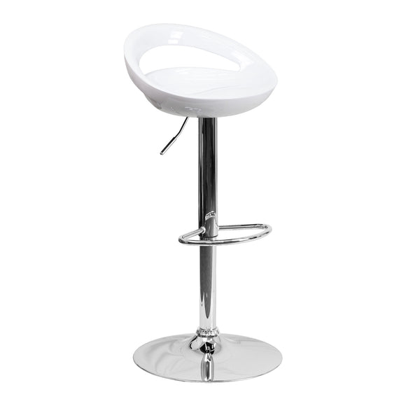 Contemporary Plastic Adjustable Height Barstools Set of 2