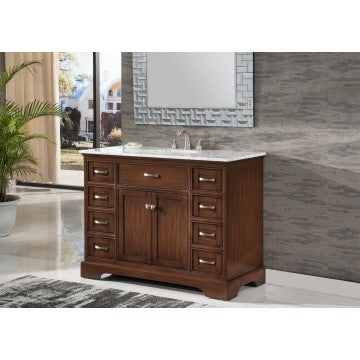 "Contemporary 46"" Walnut Bathroom Sink Vanity -2422-SK"