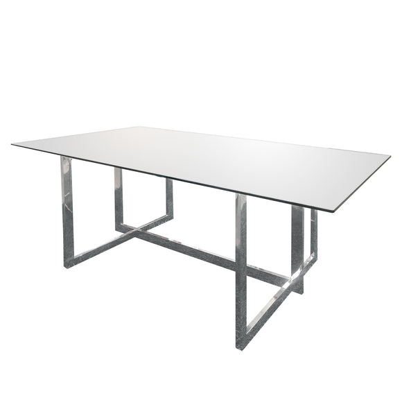 Rectangular Dining Table with Chrome Base and Clear Top