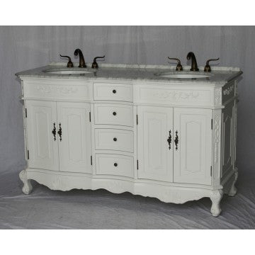 "Antique 60"" White Bathroom Double Sink Vanity -1905-60 WK"