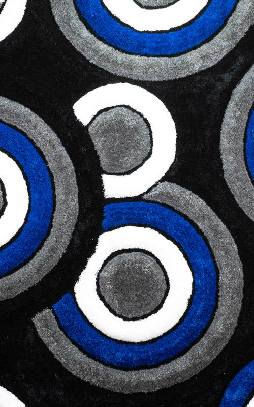 Modern Blue and Grey Circles Area Rug
