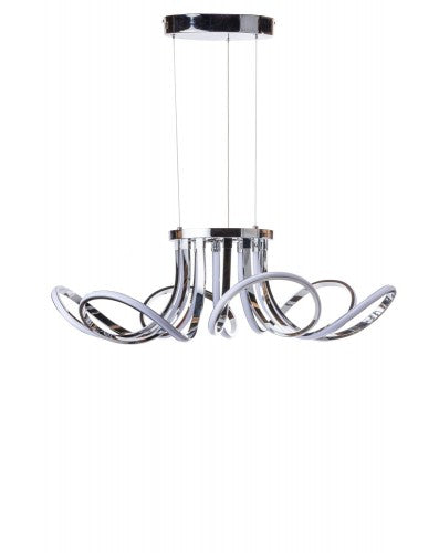 Curves Chandelier - LED Lighting - Chrome Metal