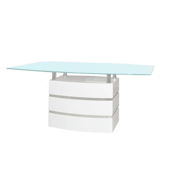 Rectangular Dining Table High Gloss White Finish and Light Blue Tempered Glass Top