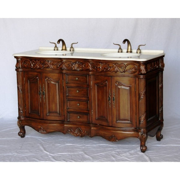 "Antique 60"" Walnut Bathroom Sink Vanity -7760-W"