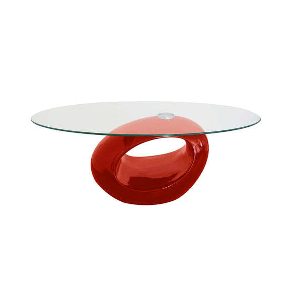 Oval Red Coffee Table with Tempered Glass