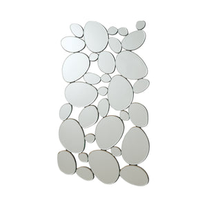"Silver Pebble - Shaped Decorative Mirror - 28.5""x 1"" x 51.5"""
