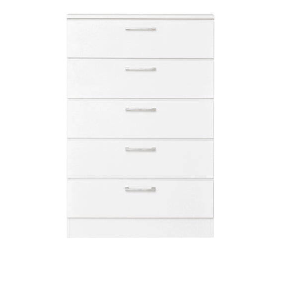 White Lacquer Chest with 5 Drawers