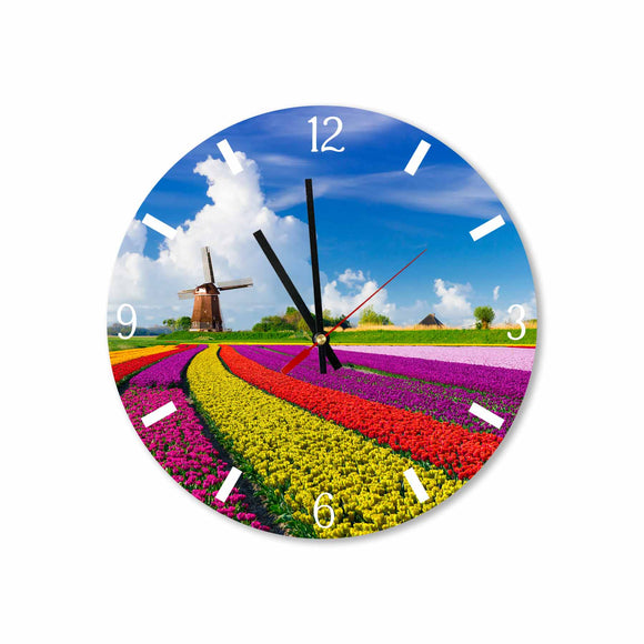 Amsterdam Tulips Fields Round/Square Acrylic Wall Clock