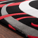 Modern Black and Red Abstract Rug