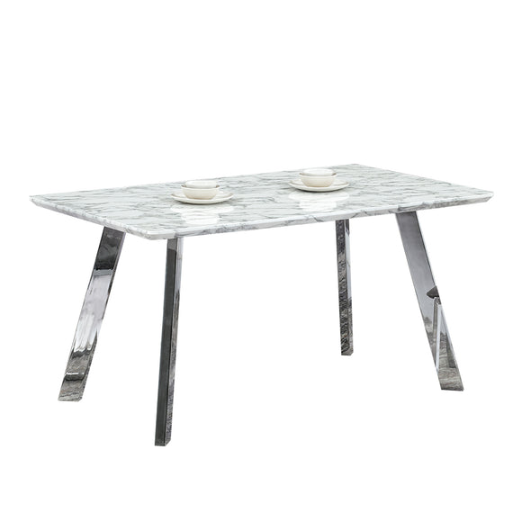 Rectangular Dining Table Marble Finish Top with Chrome Legs