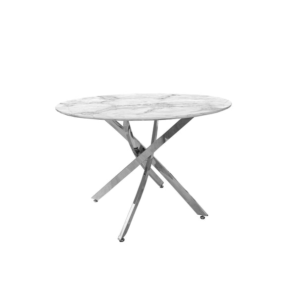 Round Dining Table Marble Finish Top with Chrome Legs