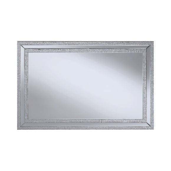 Rectangular Wall Mirror with Jeweled Frame Silver - 31.5