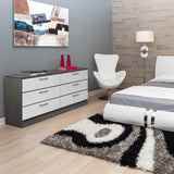 White & Grey Wood Veneer - 6 Drawers Dresser