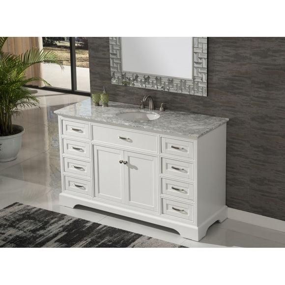 "Contemporary 56"" White Bathroom Sink Vanity -3422-56 WK"