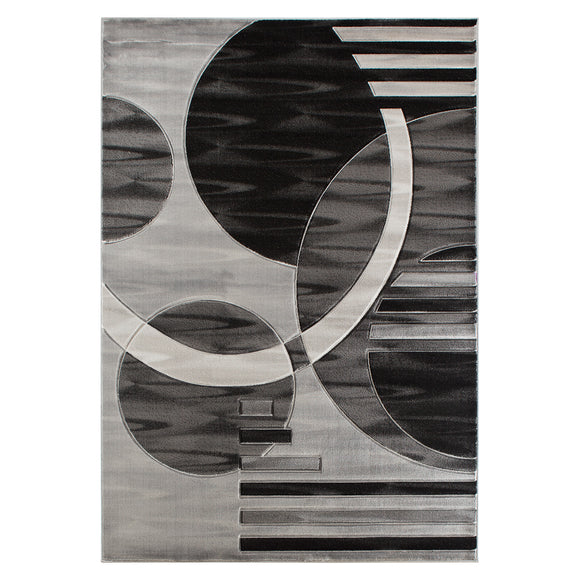 Geometric Modern Grey and Black Circles Rug