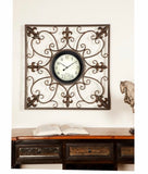 Traditional Square Tin Scrollwork Analog Wall Clock