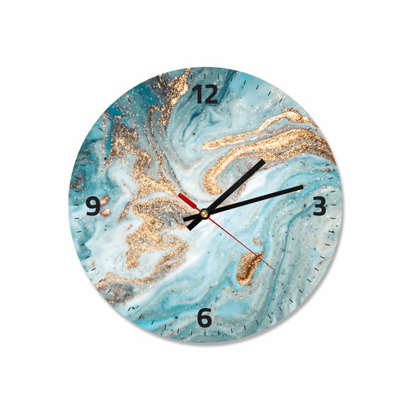 Blue & Gold Abstract Round/Square Acrylic Wall Clock
