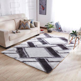 Geometric Moden Grey and White Rectangle Rug