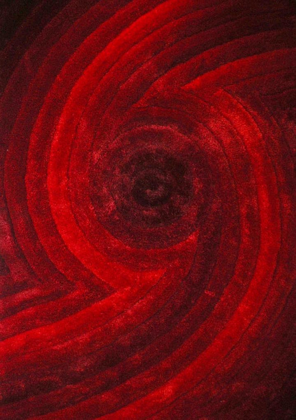 Modern Red Cyclone Area Rug