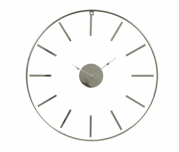 Large Round Silver Stainless Steel Modern Wall Clock