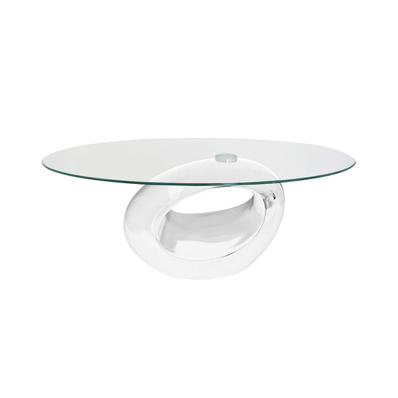 Oval White Coffee Table with Tempered Glass