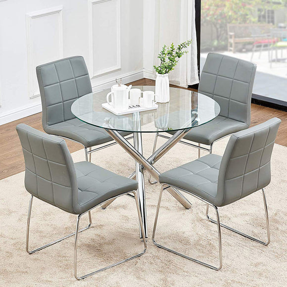 Round Dining Table with Clear Glass Top