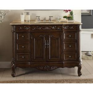 "Beckham 42"" Dark Brown with Beige Top Bathroom Sink Vanity -SW-3882M-TK-42"