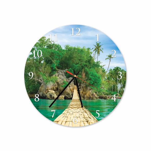 Bridge on Beach Round/Square Acrylic Wall Clock