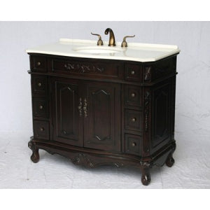 "Antique 42"" Espresso Bathroom Sink Vanity -1905-42ES-W"