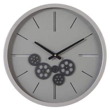 Round Black And Grey Metal Wall Clock With Functioning Gear Center