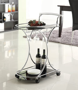 Serving Cart with 2 Tempered Glass Shelves Chrome and Black