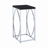 Contemporary Glossy Black and Chrome Accent Table
