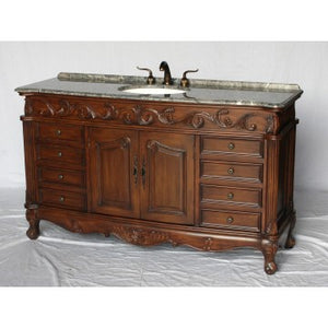 "Antique 60"" Walnut Bathroom Sink Vanity -3169L-GY"
