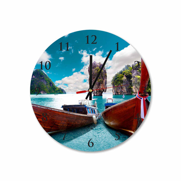 Koh Phi Phi Long Tail Boat taxi Round/Square Acrylic Wall Clock