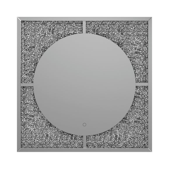 Silver And Black LED Wall Mirror - 39.5