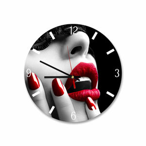 Woman Red Lips, Black & White Round Acrylic Wall Clock