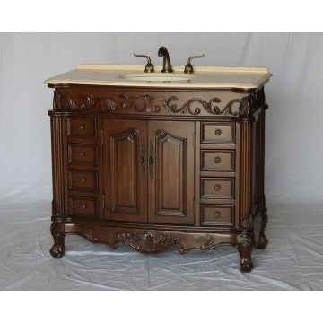 "Antique 42""Walnut Bathroom Sink Vanity -3169-42-BE"