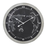 Large Round Black And Silver Map Metal Wall Clock With Grey Wood Frame