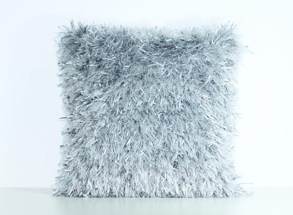 Silver Shaggy Lurex Throw Pillow