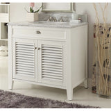 "Kalani 36"" White Bathroom Sink Vanity -YR3028Q36"