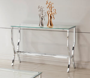 "43"" Contemporary Chrome Console Table"