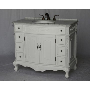 "Antique 42"" White Bathroom Sink Vanity -1905-42-WK"