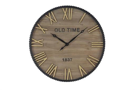 Farmhouse 36 Inch Wood And Metal Corrugated Analog Wall Clock