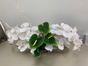 Orchids Artificial Arrangement in Silver Tray - Floral & Greenery